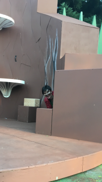 James Lewis (Robin Goodfellow, the Puck) explores all the different entrances available on the set